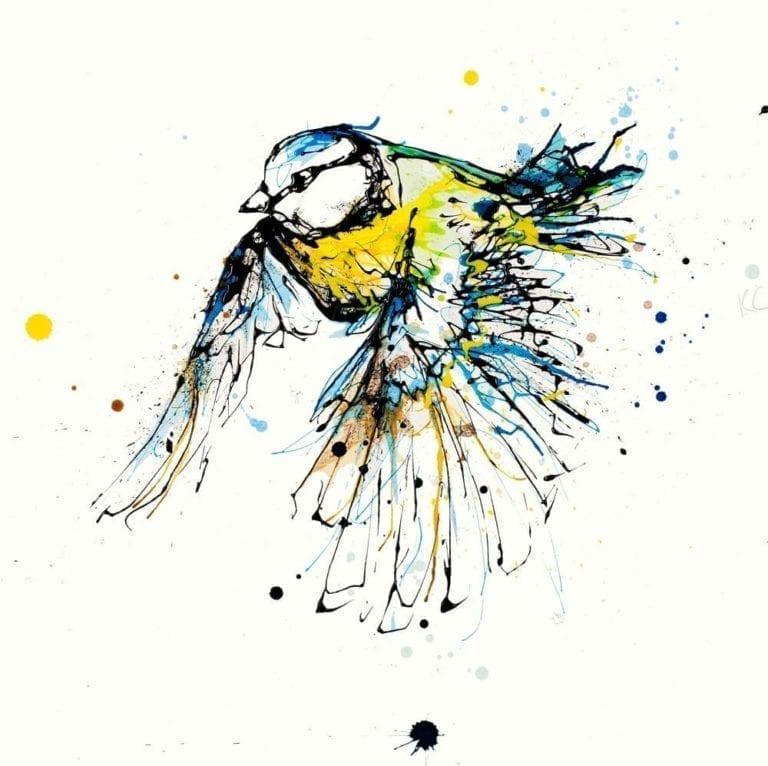 Blue tit in flight print by Irish artist Kathryn Callaghan