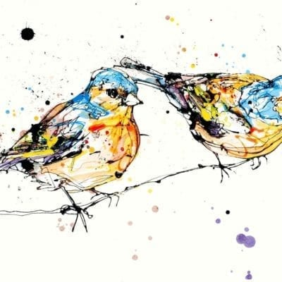 Two chaffinches sitting on a branch poured artwork by artist Kathryn Callaghan