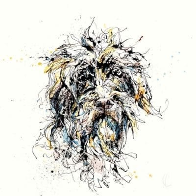 Scruffy dog print by Northern Ireland artist Kathryn Callaghan