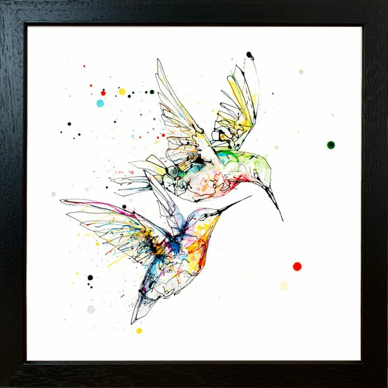 Circling Hummingbirds Paper Giclee Fine Art Print shown in Standard Black Frame