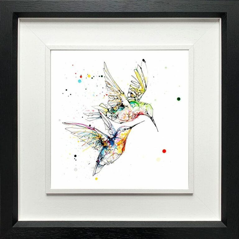 Circling Hummingbirds Paper Giclee Fine Art Print shown in Deluxe Black Frame