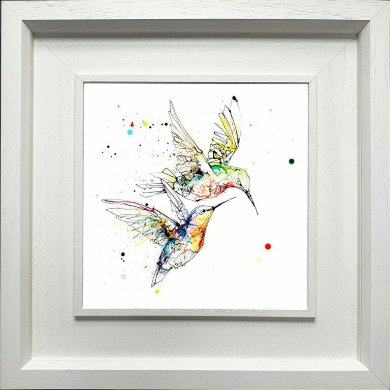 Circling Hummingbirds Paper Giclee Fine Art Print shown in Deluxe White Frame
