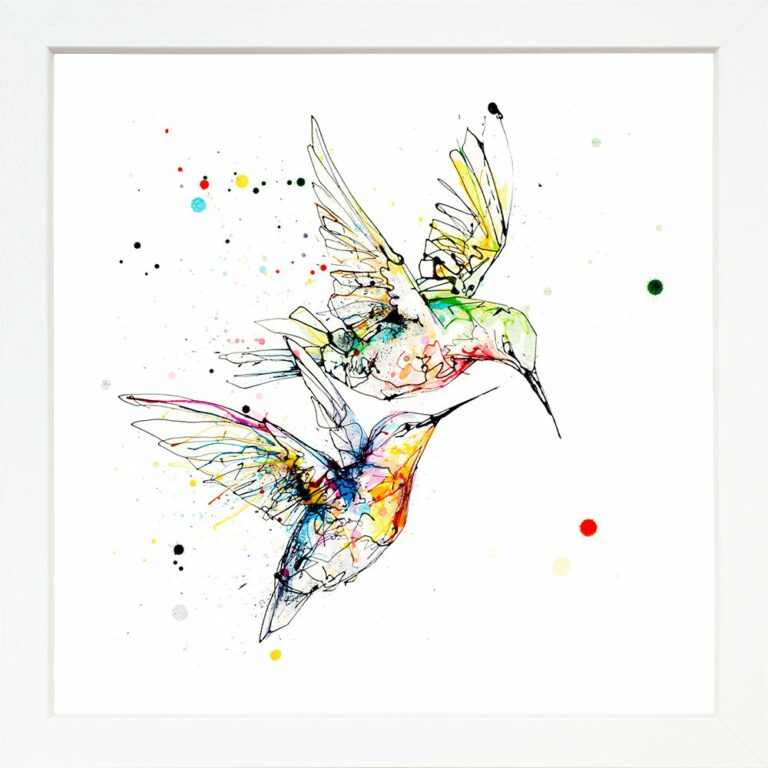 Circling Hummingbirds Paper Giclee Fine Art Print shown in Standard White Frame