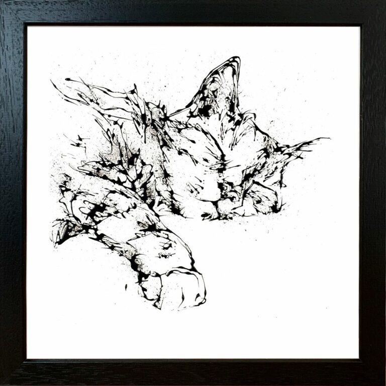 Dreamer Cat Paper Giclee Fine Art Print in Standard Black Frame