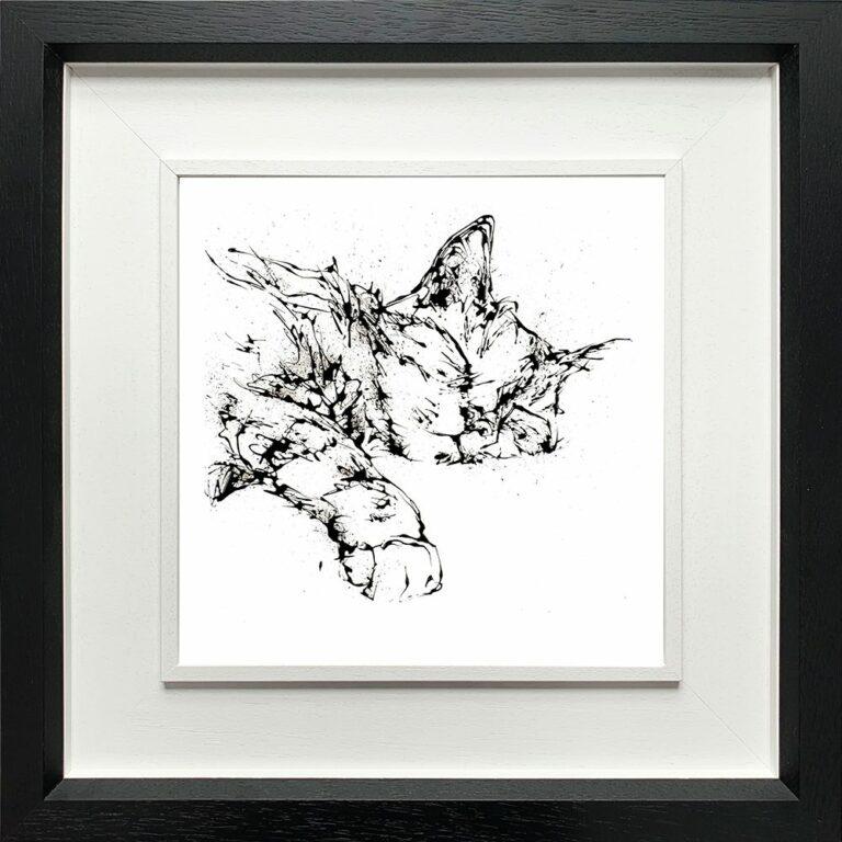 Dreamer Cat Paper Giclee Fine Art Print in Deluxe Black Frame