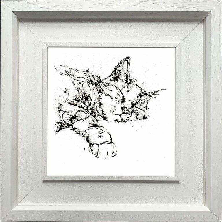 Dreamer Cat Paper Giclee Fine Art Print in Deluxe White Frame