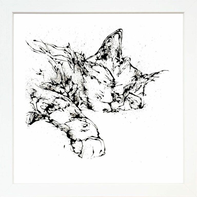 Dreamer Cat Paper Giclee Fine Art Print in Standard White Frame