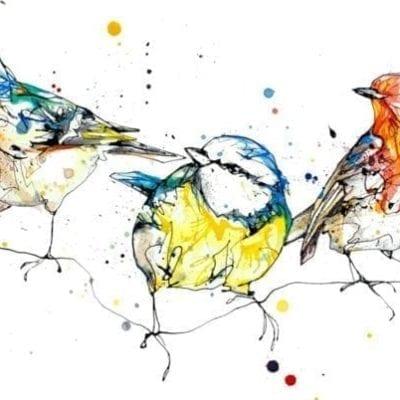 garden birds textured print