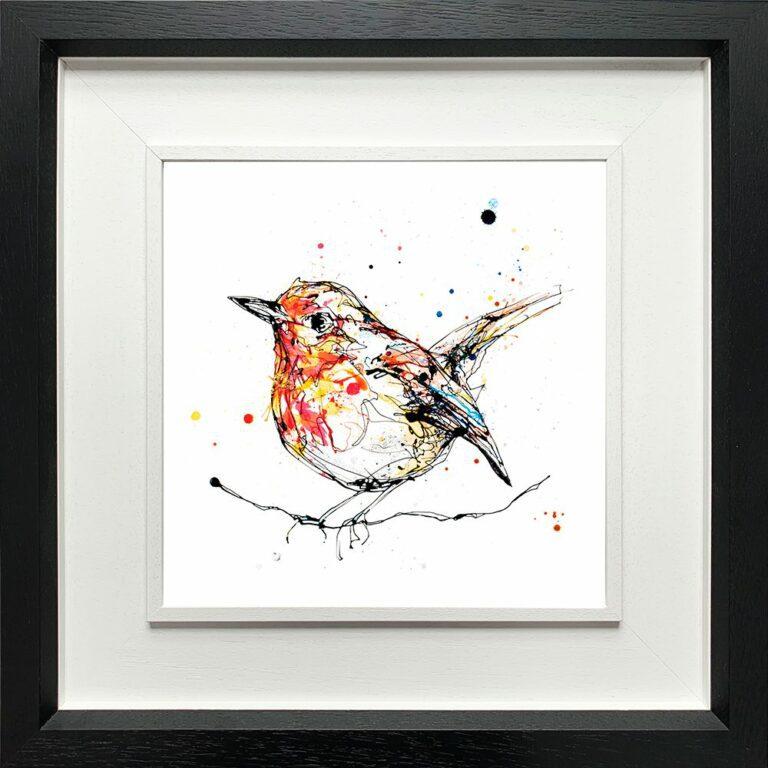 Peekaboo Robin Paper giclee Fine Art Print shown in Deluxe Black Frame