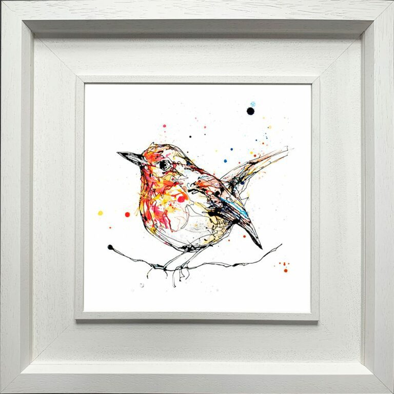 Peekaboo Robin Paper giclee Fine Art Print shown in Deluxe White Frame