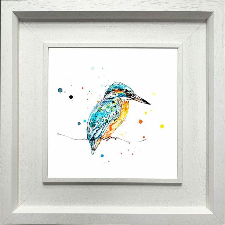 Gaze Kingfisher Paper Giclee Fine Art Print in Deluxe White Frame