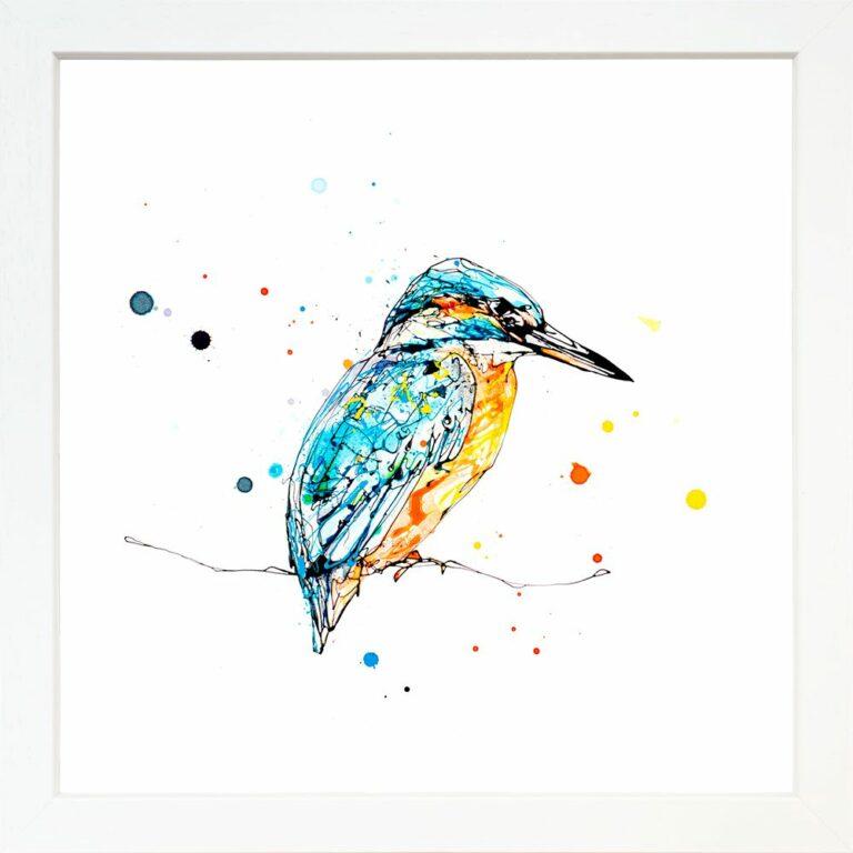 Gaze Kingfisher Paper Giclee Fine Art Print in Standard White Frame