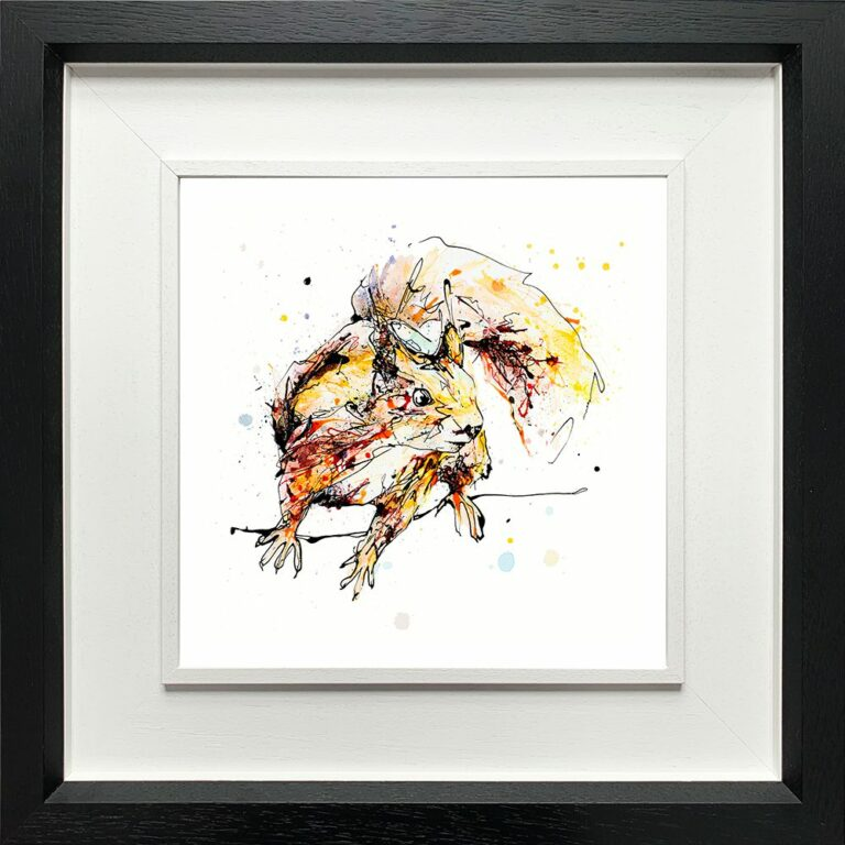 Get Set Go Red Squirrel Paper Giclee Fine Art Print shown in Deluxe Black Frame