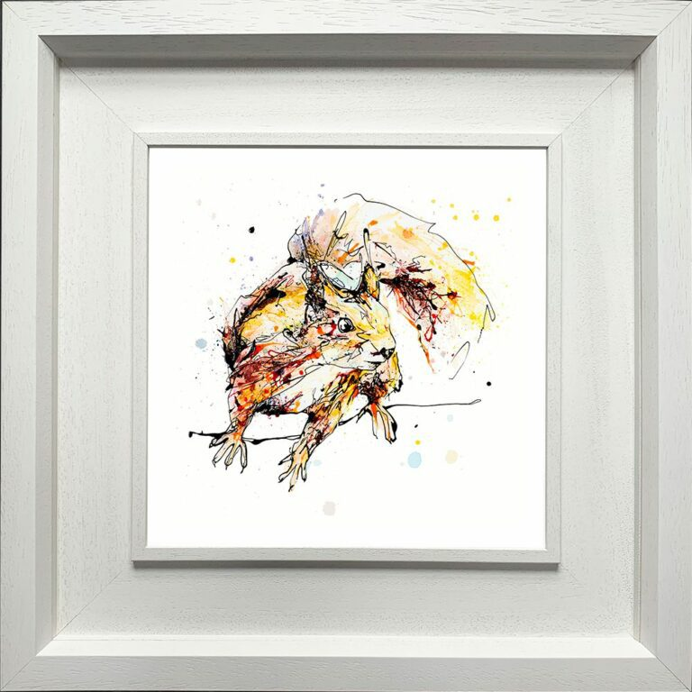 Get Set Go Red Squirrel Paper Giclee Fine Art Print shown in Deluxe White Frame