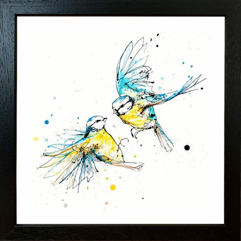 United Blue Tits Garden Birds Paper Giclee Fine Art Print in Black Frame