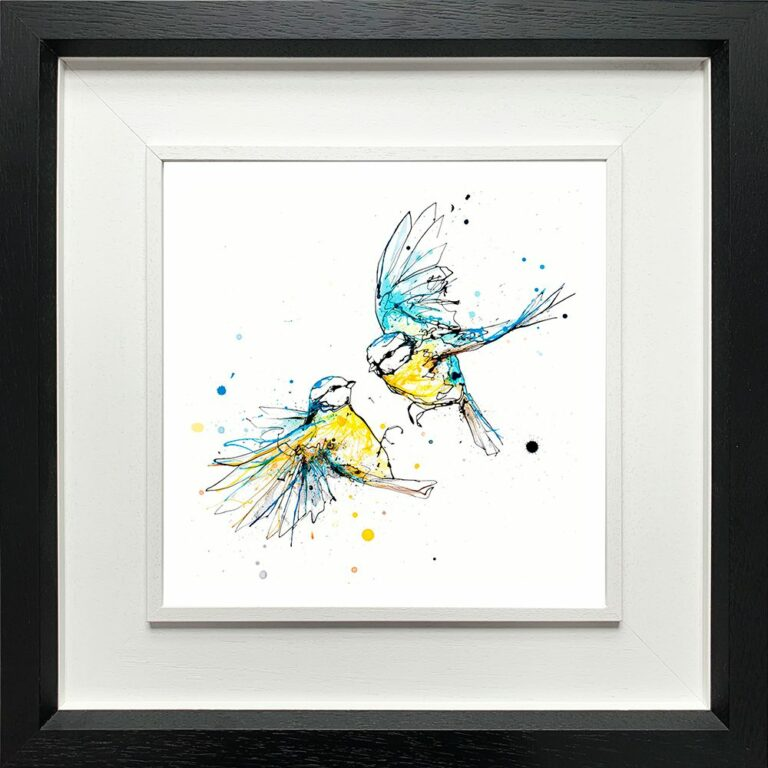 United Blue Tits Paper Giclee Fine Art Print shown in Deluxe black Frame
