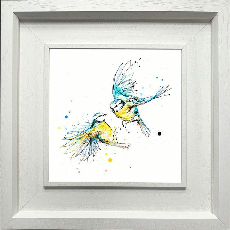 United Blue Tits Paper Giclee Fine Art Print shown in Deluxe White Frame