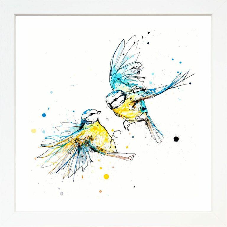 United Blue Tits Garden Birds Paper Giclee Fine Art Print in White Frame
