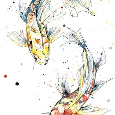 Harmony Fine Art Print of Two Koi Fish Swimming