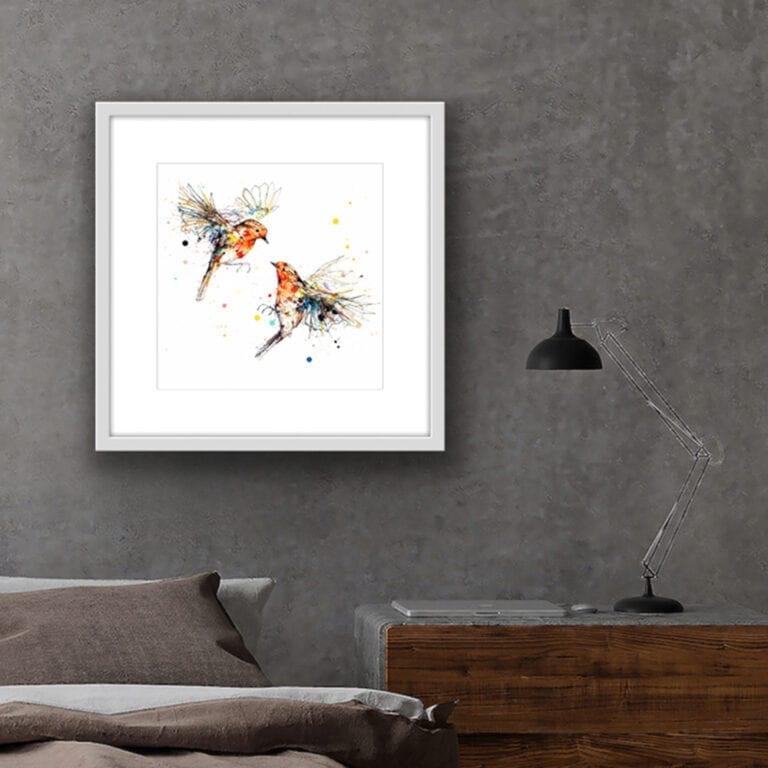 Showdown Robins Fine Art Print shown in Situ