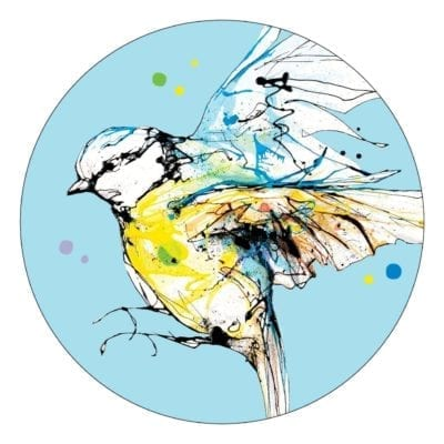 Premium Coaster with blue tit design and blue background
