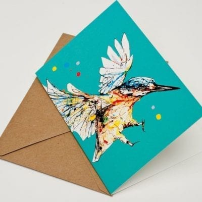Teal occasion card with kingfisher design