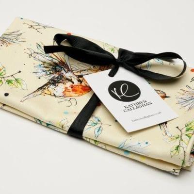 cream tea towel with garden bird design