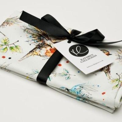 premium white tea towel with garden bird desing