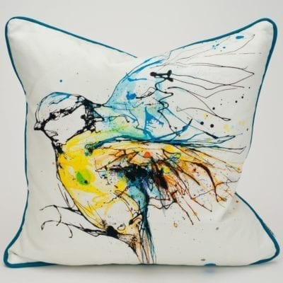 white blue tit cushion design