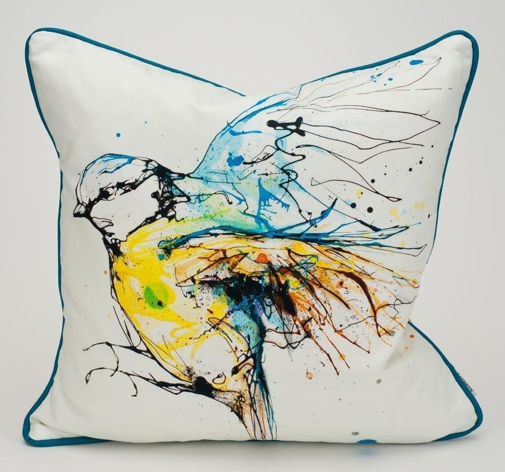 white blue tit cushion design