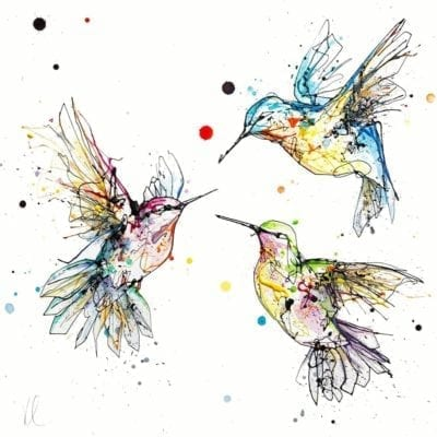 Beautiful bird art of hummingbirds in flight