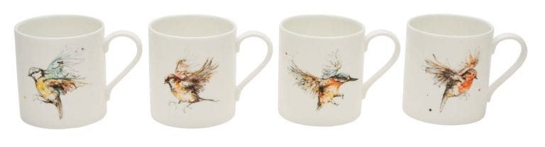 Garden bird mug collection