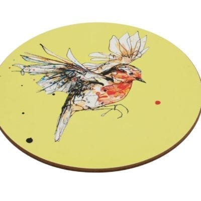 Robin placemat on yellow background