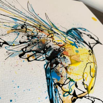 details of blue tit painting