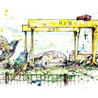 art print of belfast cranes