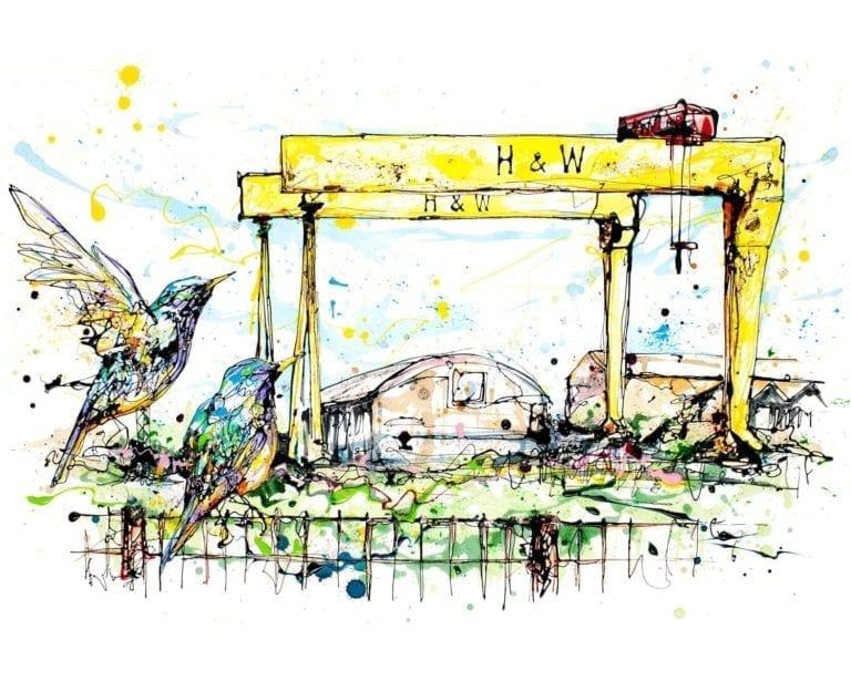 art print of belfast cranes