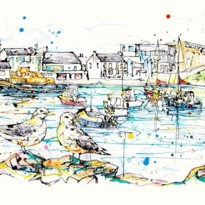 art print of portrush harbour