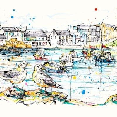 art print of portrush harbour