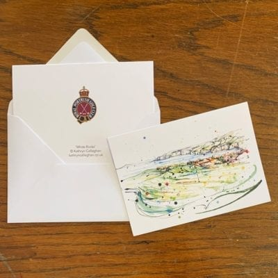 royal portrush greeting card white rocks