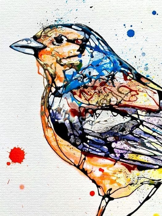 Detail of Chirpy chaffinch painting