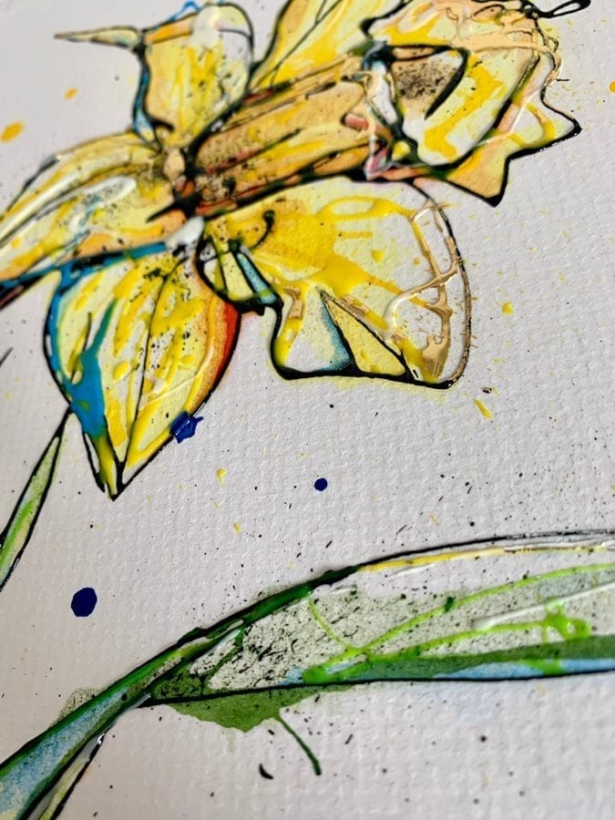 detail of daffodil painting