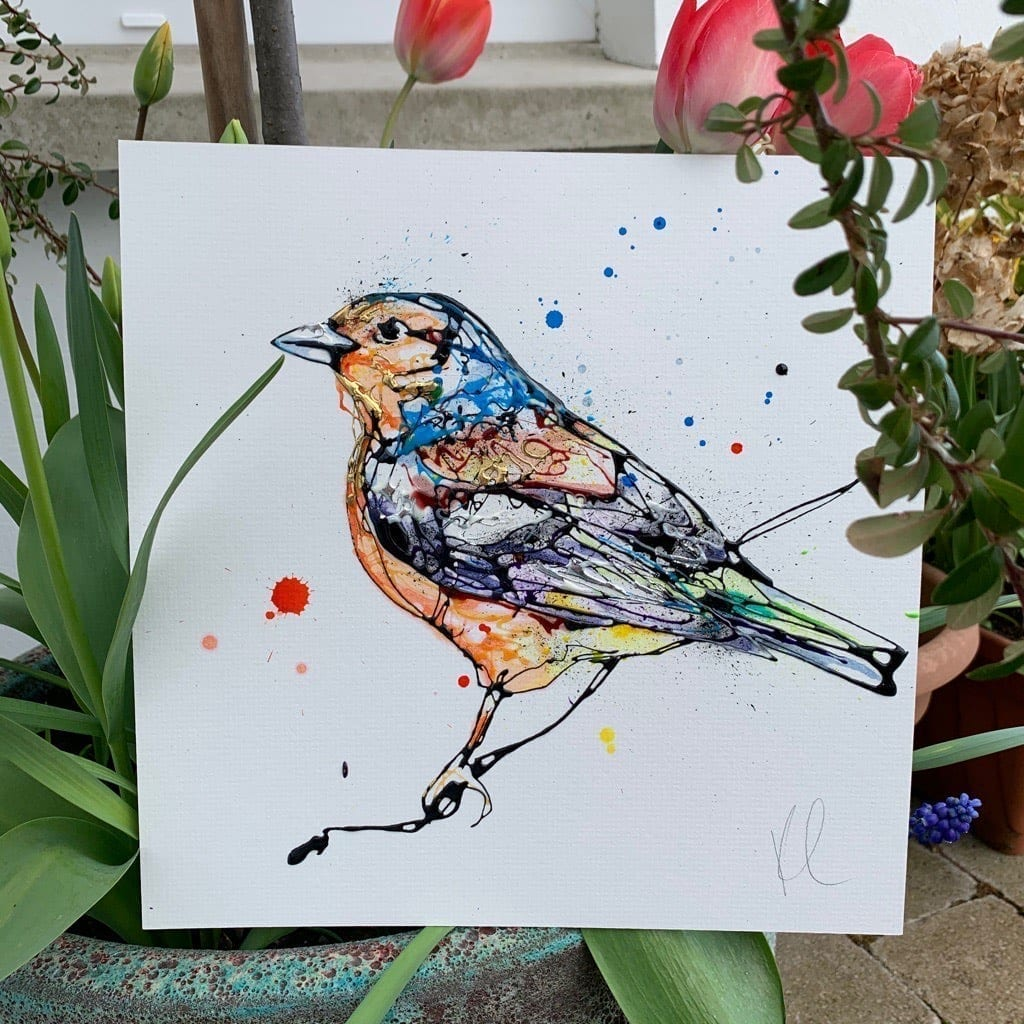 photo of Chirpy painting in the garden