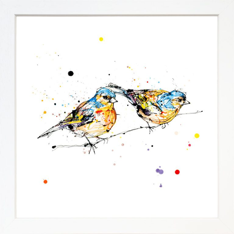 Did You See That Giclee Paper Fine Art Print of Two Chaffinches shown in White Frame