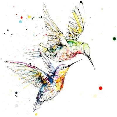 Circling Hummingbirds Print
