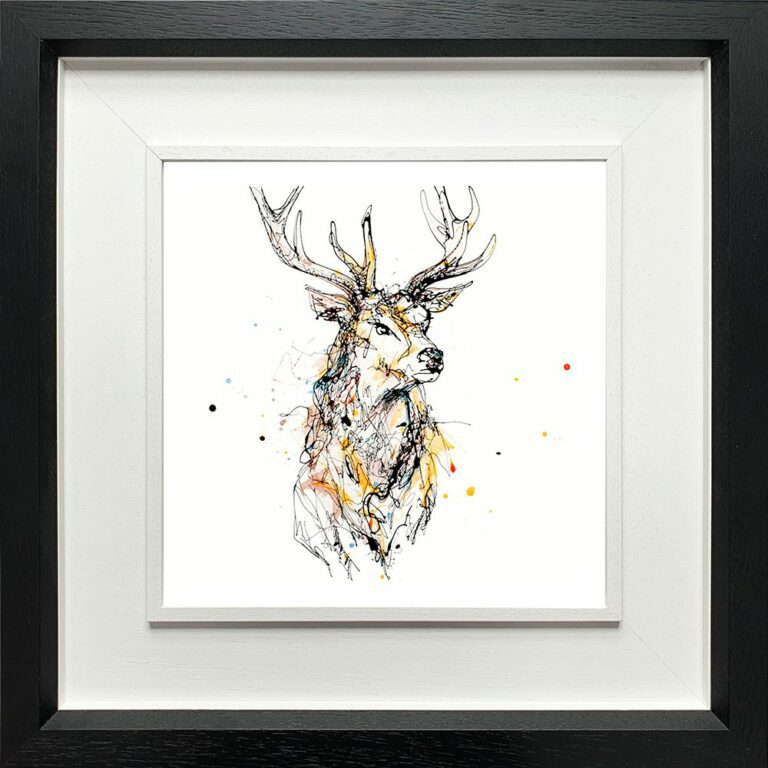 Grand Stag Paper giclee Fine ART Print shown in Deluxe Black Frame