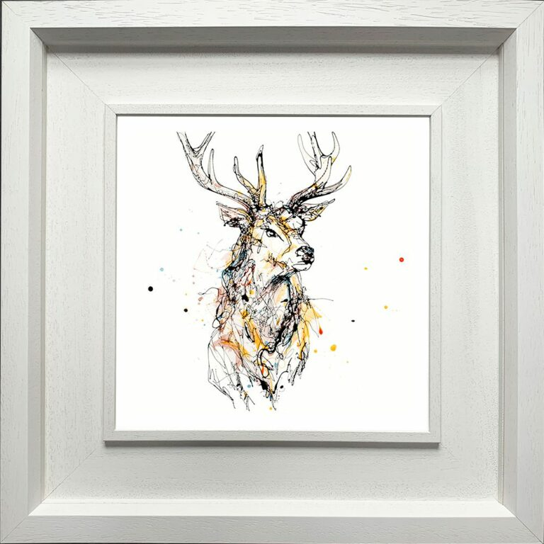 Grand Stag Paper giclee Fine ART Print shown in Deluxe White Frame
