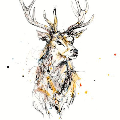 Grand Red Deer Stag Giclee Paper Fine Art Print