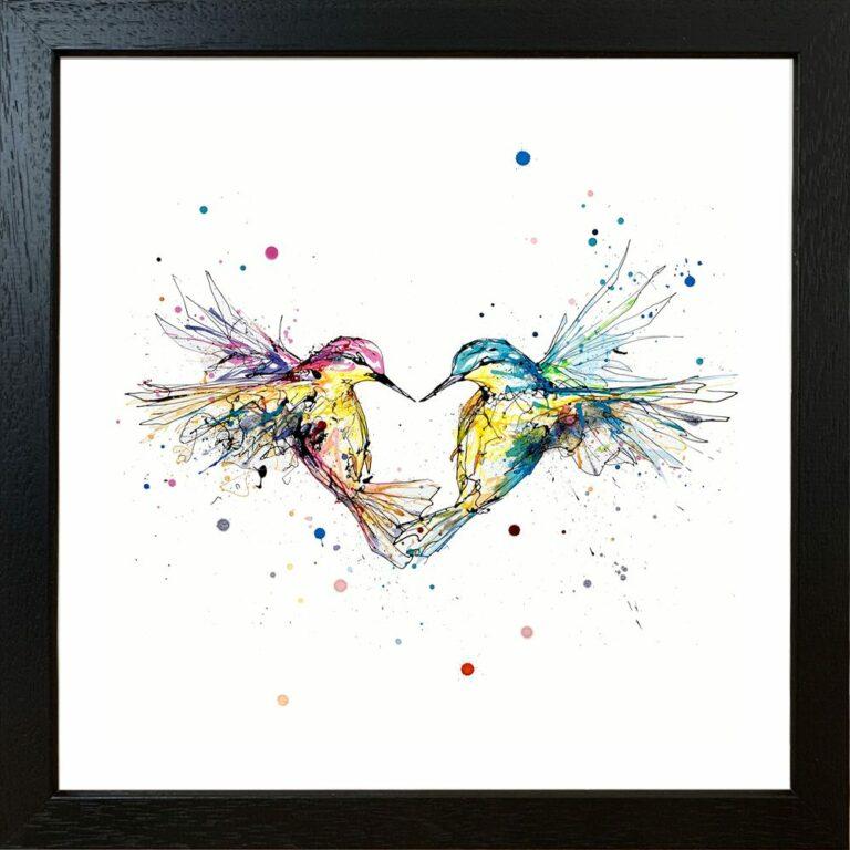 Forever Two Hummingbirds Heart Paper Giclee Fine Art Print in Black Frame