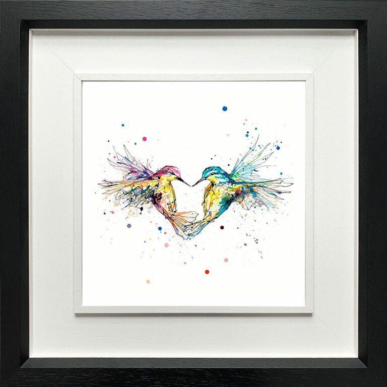 Forever Paper Giclee Fine Art Print Hummingbirds Love shown in Deluxe Black Frame