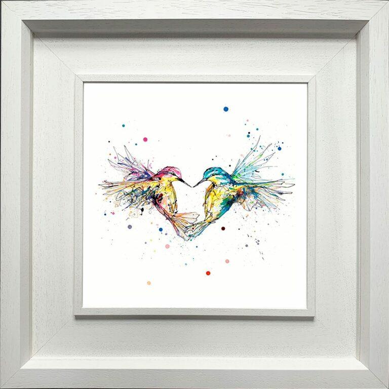 Forever Paper Giclee Fine Art Print Hummingbirds Love shown in Deluxe White Frame